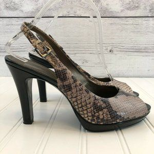 Tahari Snake Print Peep Toe Slingback Heels 8